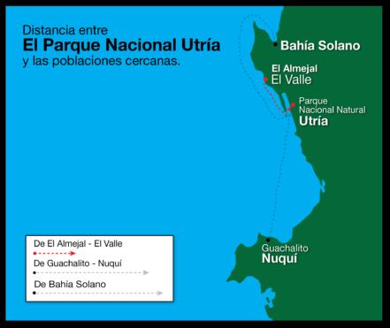 Mapa distancia Parque Nacional de Utría desde Bahía Solano
